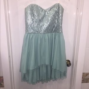 By&by aqua strapless short junior dress